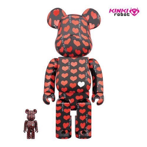 400%+100%BEARBRICK BLACK HEART