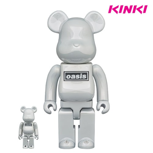 400%+100% BEARBRICK OASIS WHITE CHROME