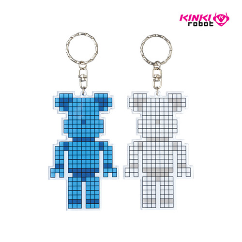 BEARBRICK ACRYLIC KEYCHAIN-BLUE / LIGHTGRAY
