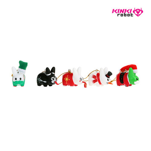LABBIT ORNAMENT 5PACK 1.5""