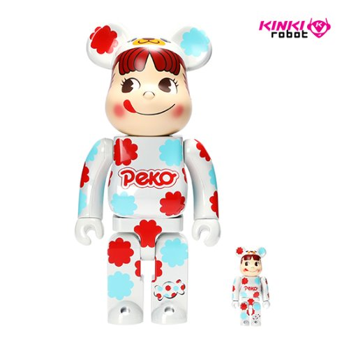 400%+100%BEARBRICK PEKO MILKY WHITE PLATED