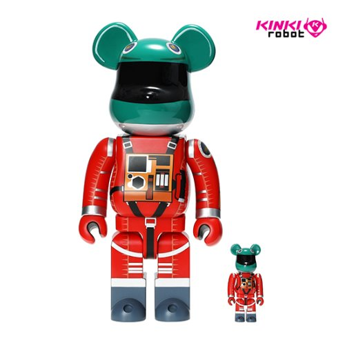 400%+100%BEARBRICK SPACE SUIT GREEN HELMET & ORANGE SUIT VER