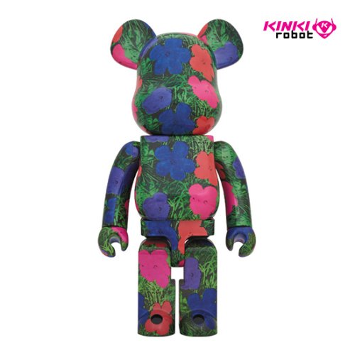 1000%BEARBRICK ANDY WARHOL FLOWERS