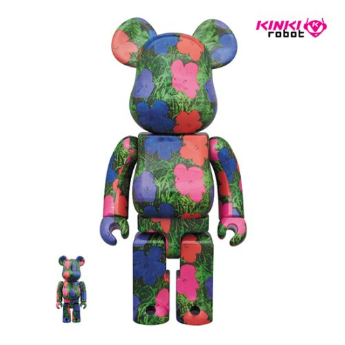 400%&100%BEARBRICK ANDY WARHOL FLOWERS