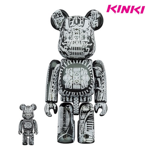 400%+100%BEARBRICK H.R.GIGER BLACK CHROME Ver.