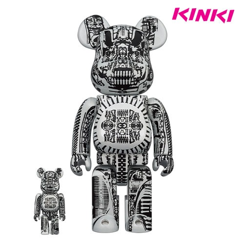 400%+100%BEARBRICK H.R.GIGER WHITE CHROME Ver.